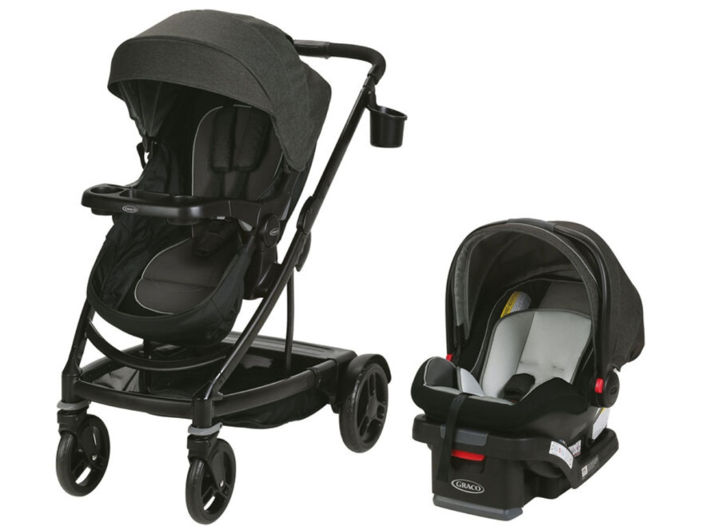 black graco stroller and carseat