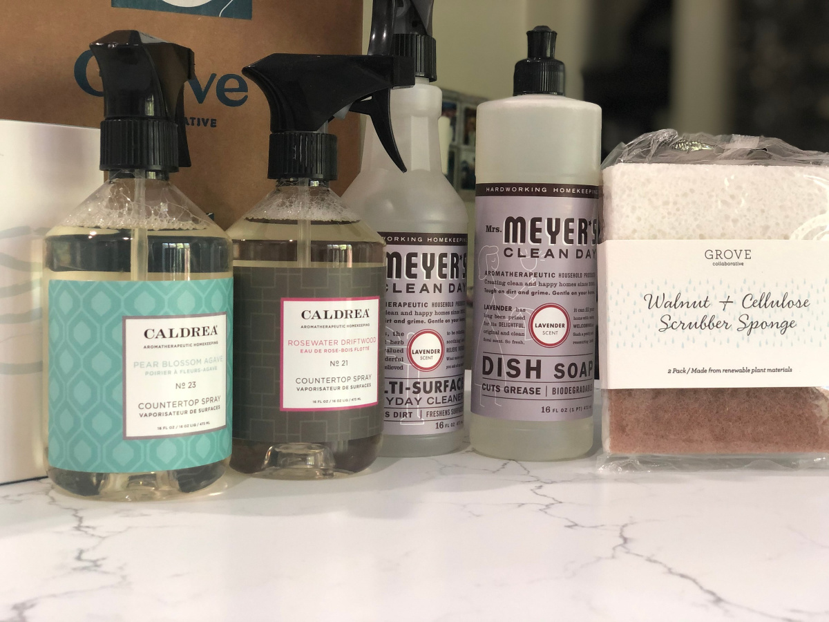 grove order with Mrs. Meyer's and Caldrea cleaning products on counter