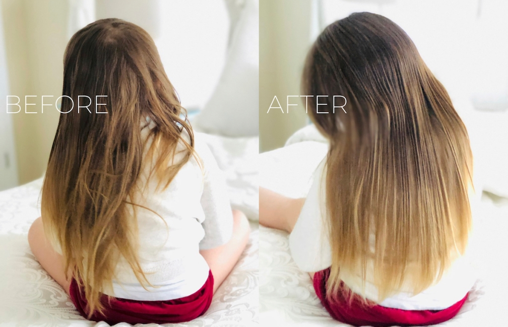 before and after of girls long hair