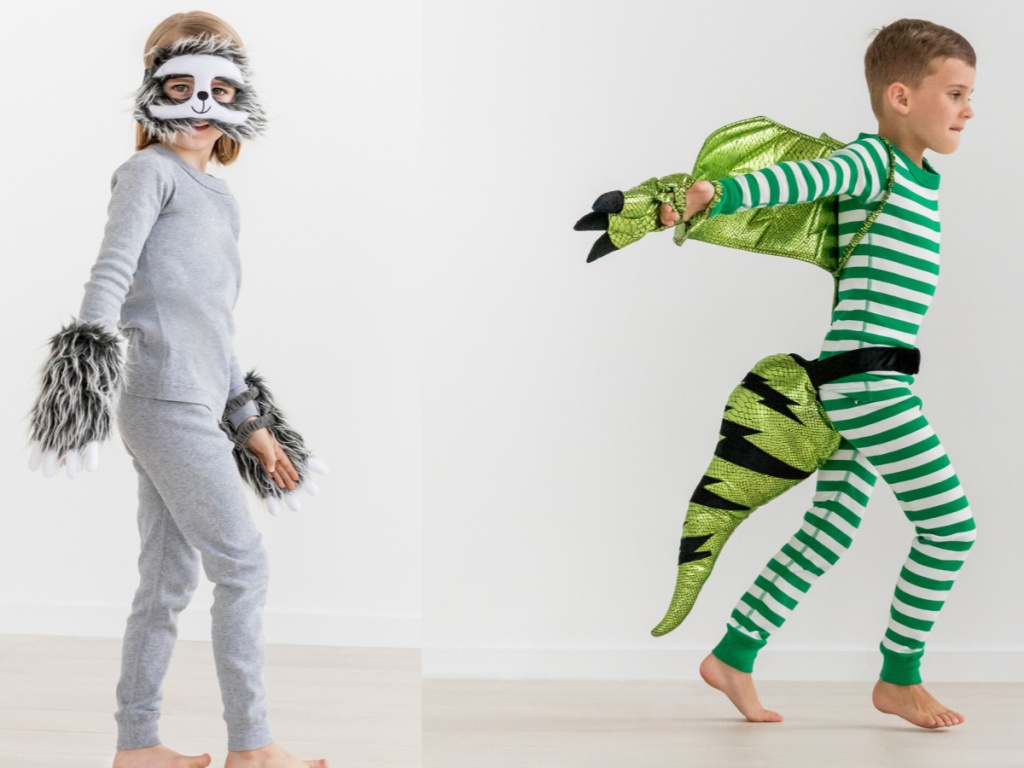 boys wearing sloth and dragon costumes