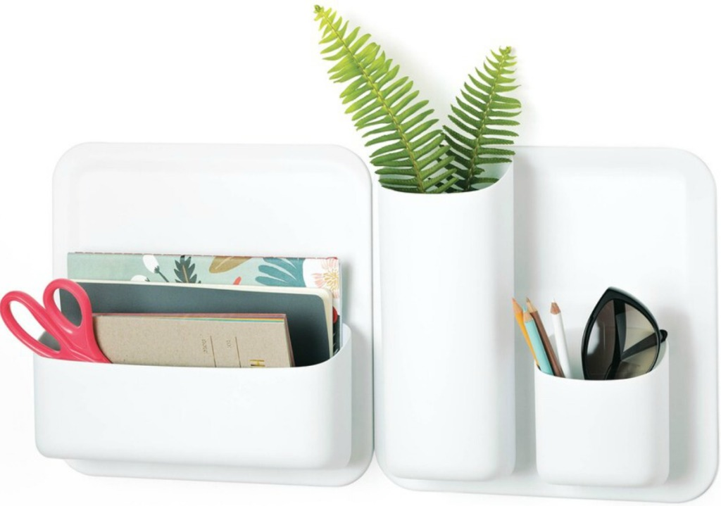 white storage cubes holding office supplies and sunglasses