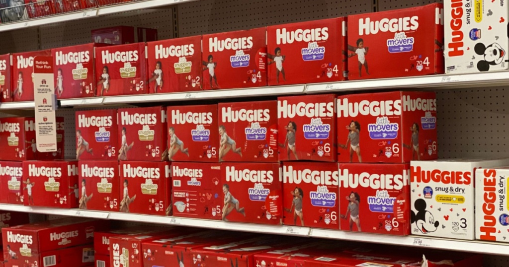 stacks of Huggies diapers
