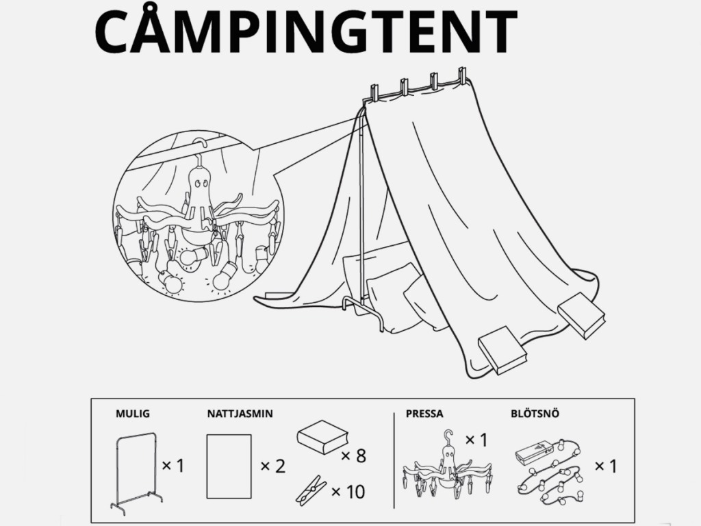 visual instruction on how to build a camping fort