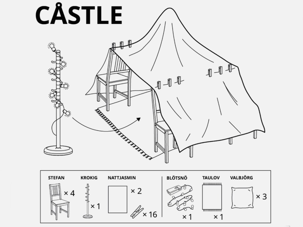 visual instructions on how to build a castle fort