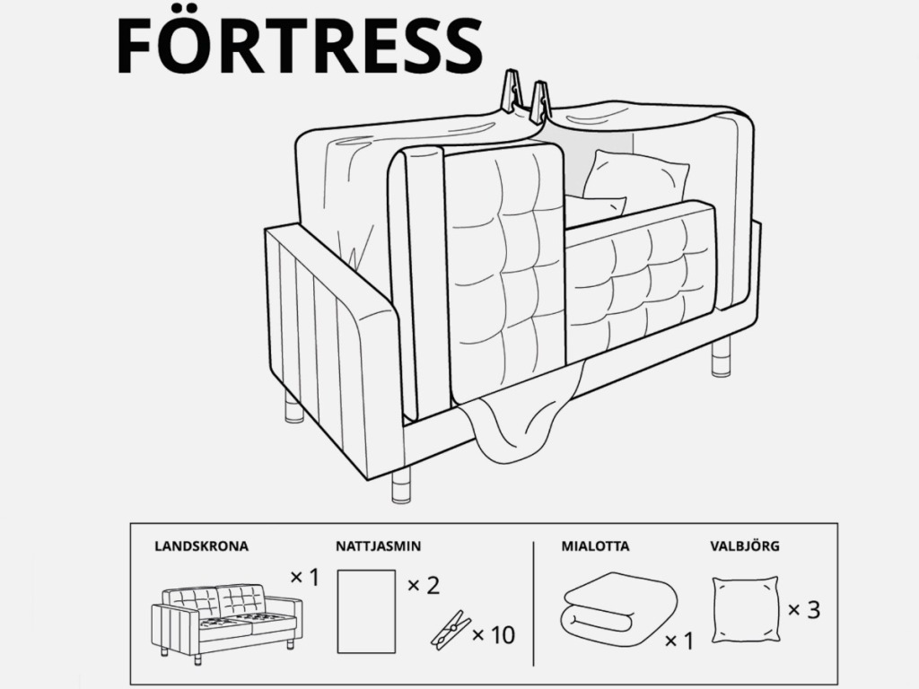 drawings showing someone how to make a fort out of a couch