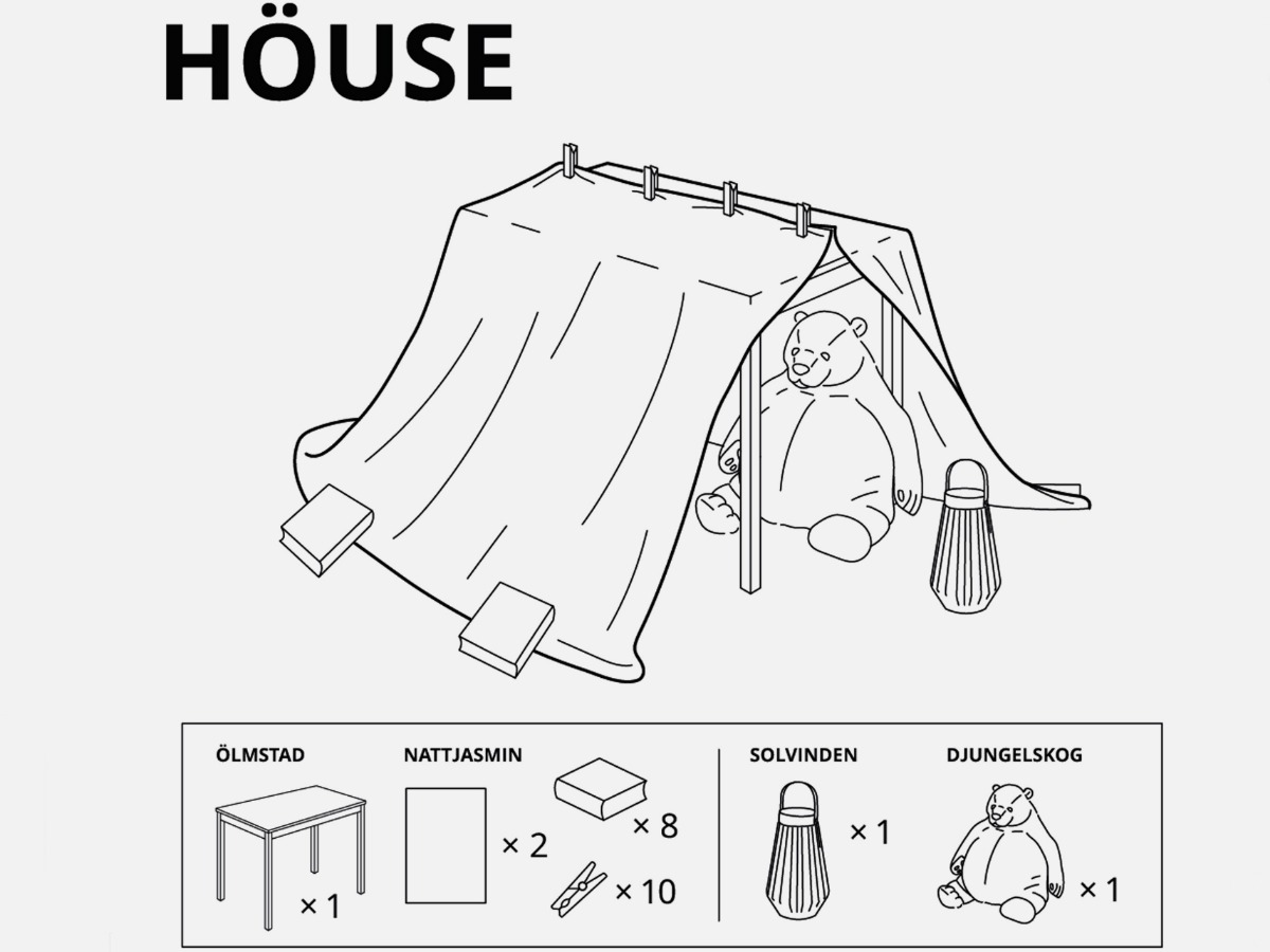 visual instructions and supplies you need to build a fort at home