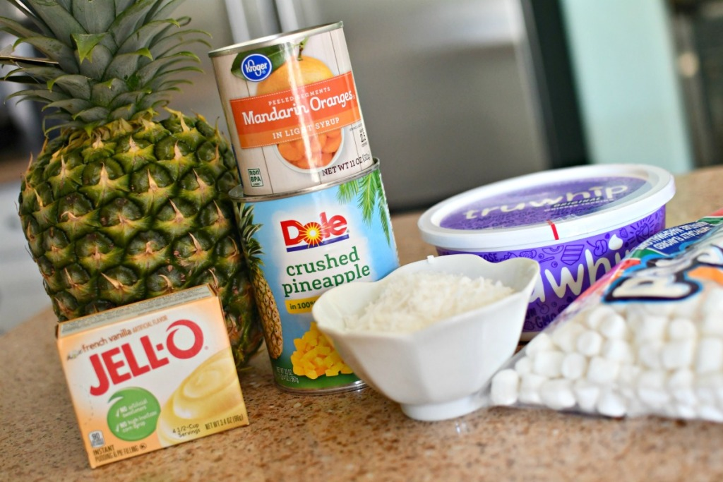 ingredients for pineapple fluff salad
