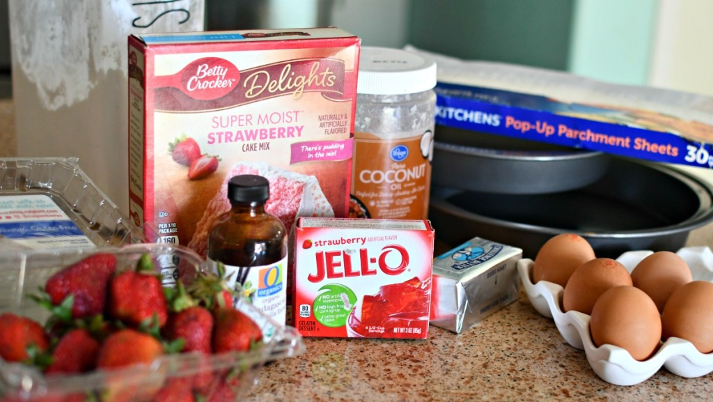 ingredients for strawberry jell-o cake