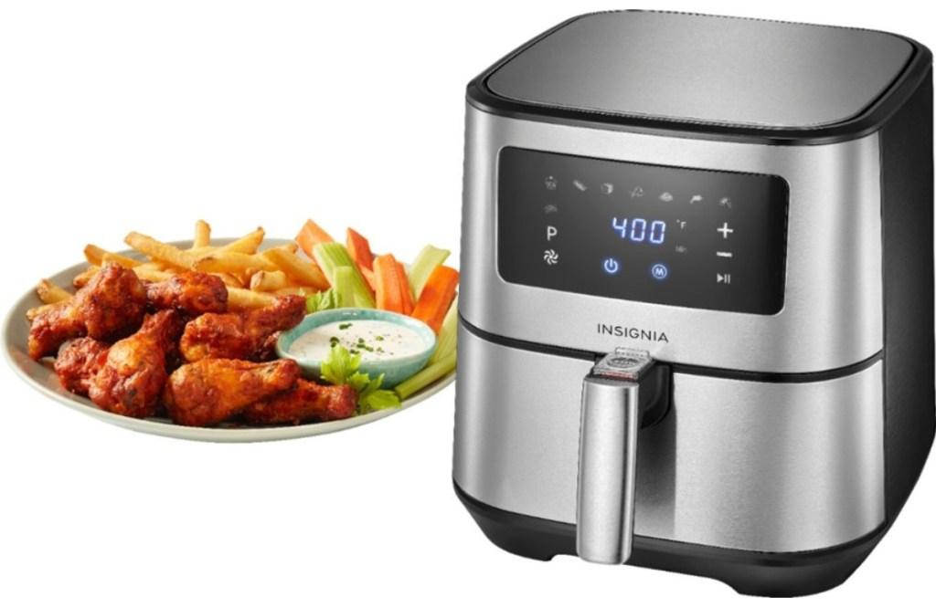 Best Air Fryer - insigina 5-quart digital air fryer next to plate of chiceken