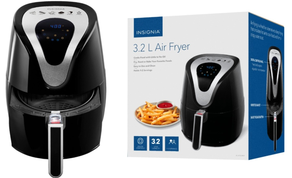 insignia 3.4 quart air fryer next to unopened box