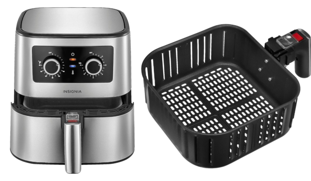 insignia analog air fryer with basket detached