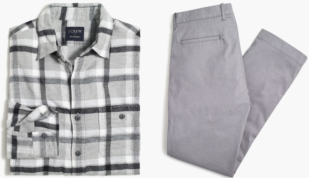 gray white navy plaid button up and gray pants