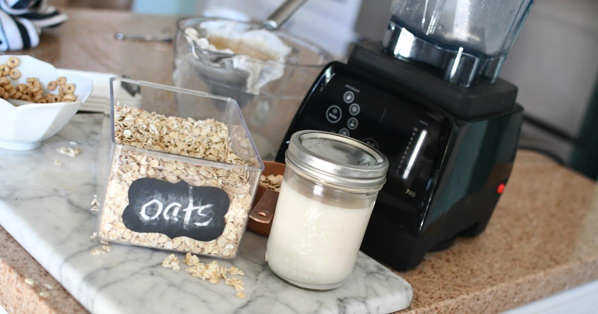 jar of homemade of vanilla homemade oat milk