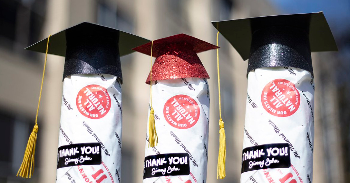 jimmy johns subs with grad caps