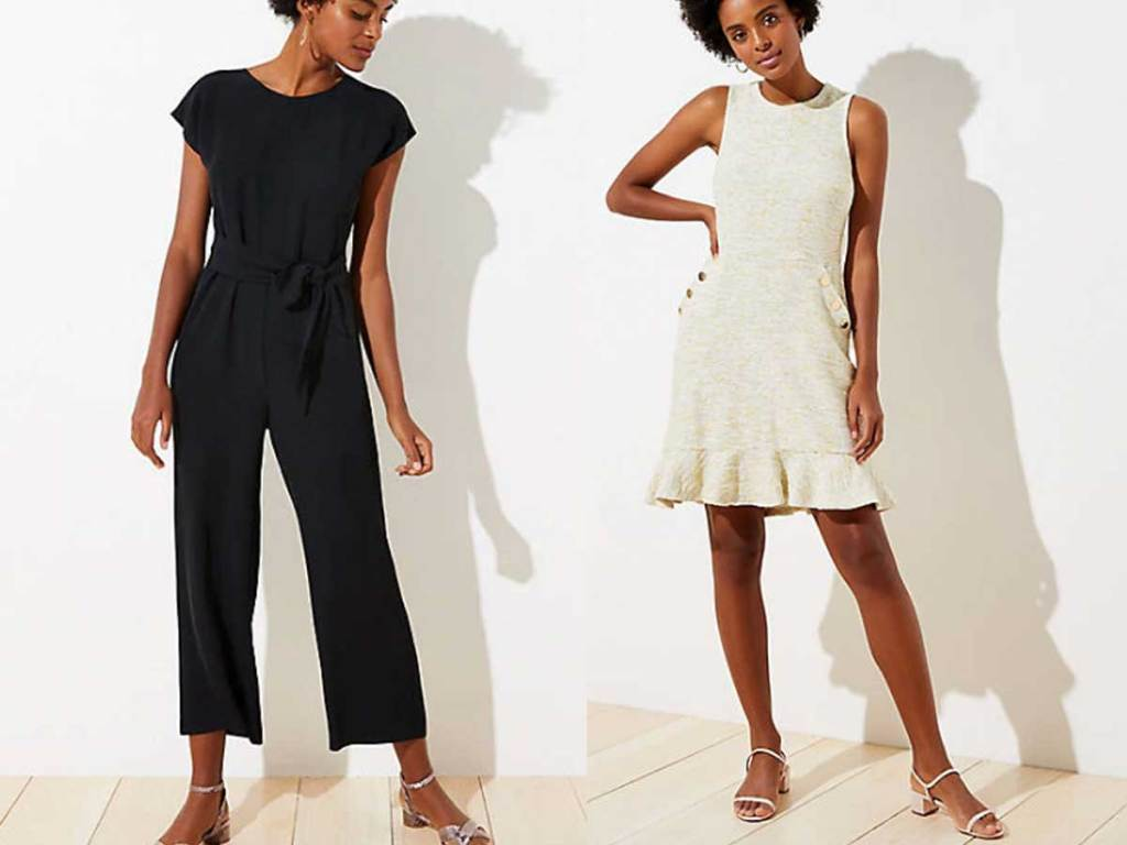 woman's jumpsuit and white short dress