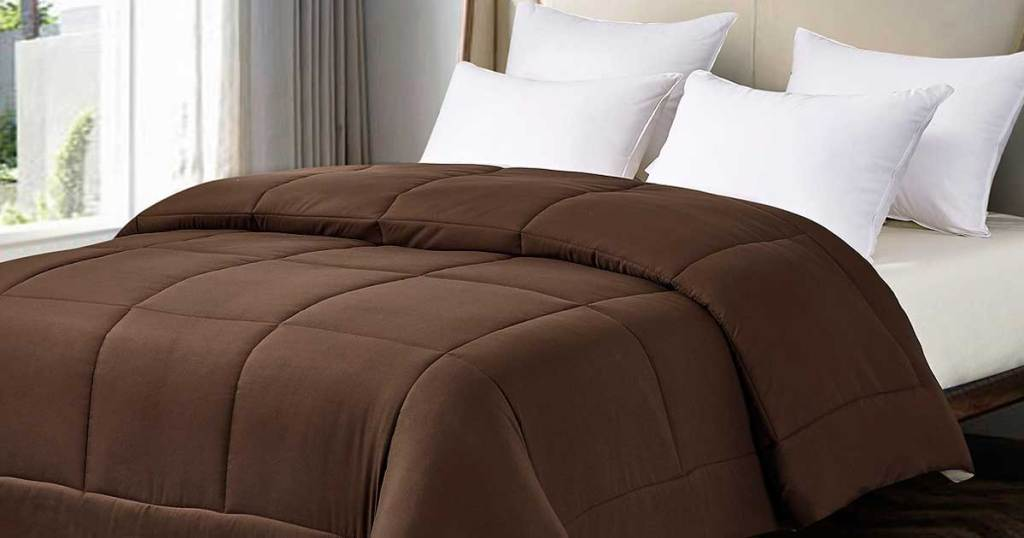 chocolate khaki comforter on a bed