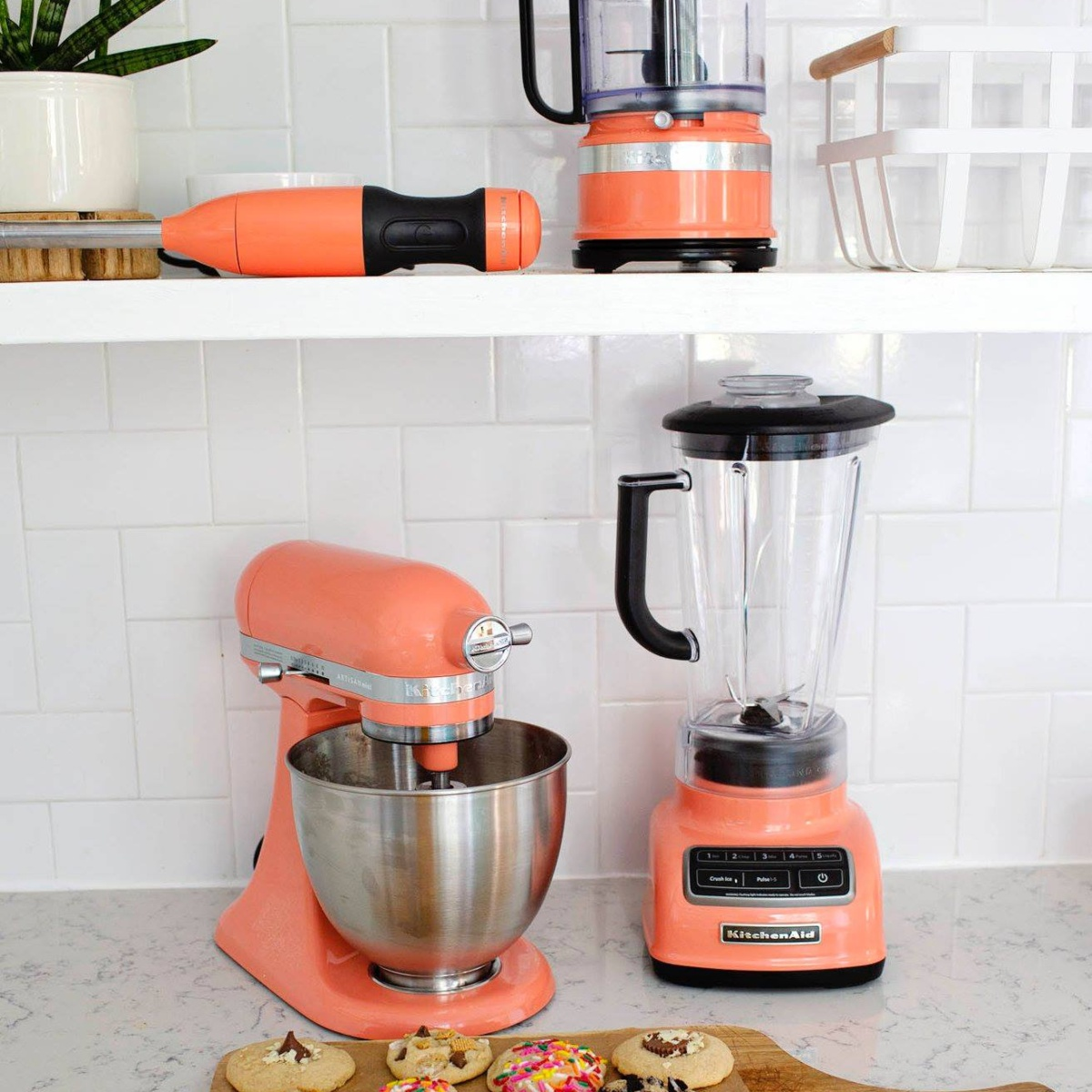 salmon-colored KitchenAid appliances