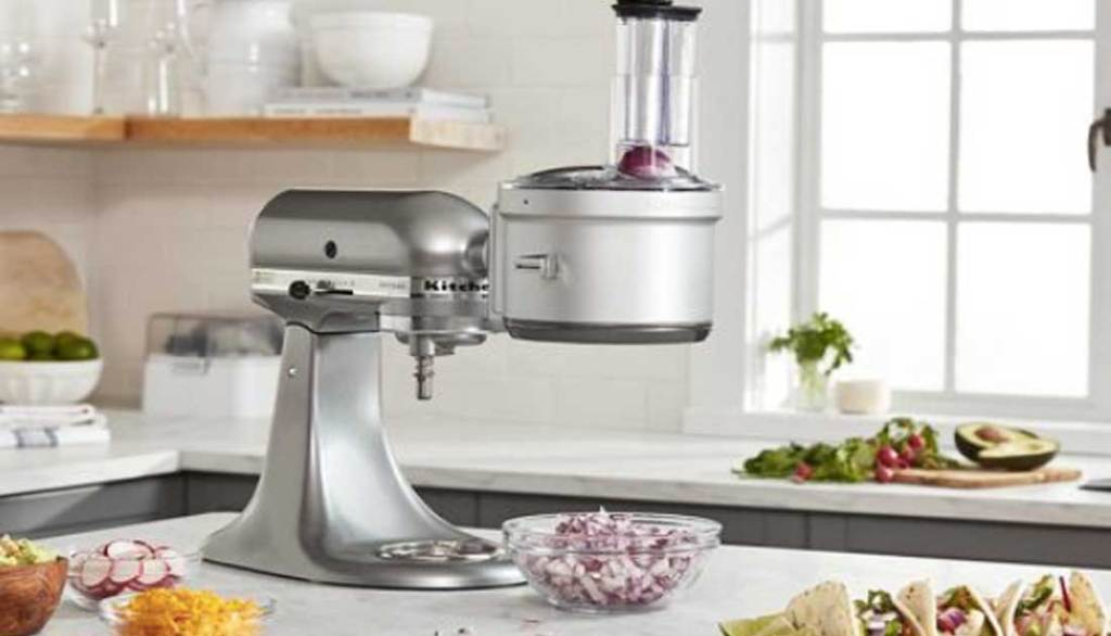 food processor and dicing unit on kitchen island