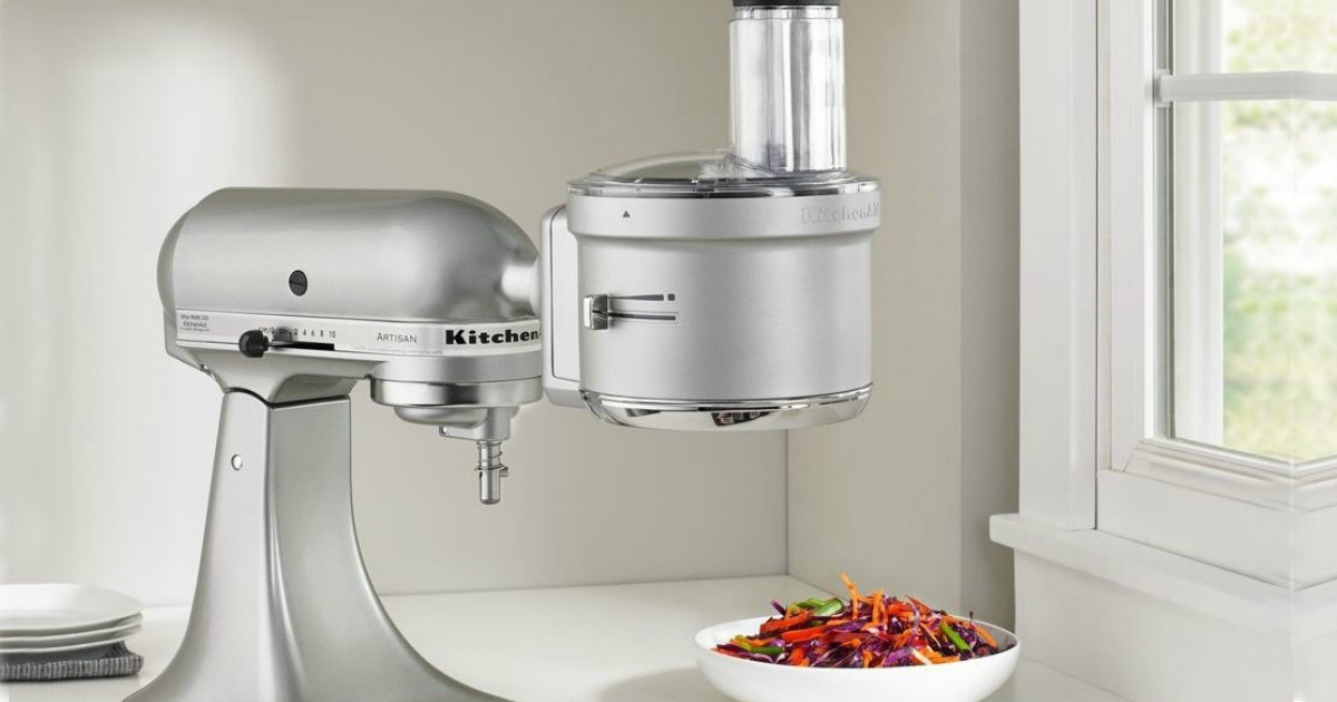 kitchenaid with food processor attachment on counter