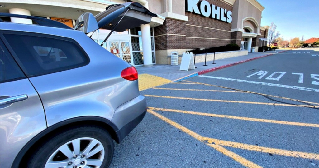 kohls curbside pickup car with trunk open