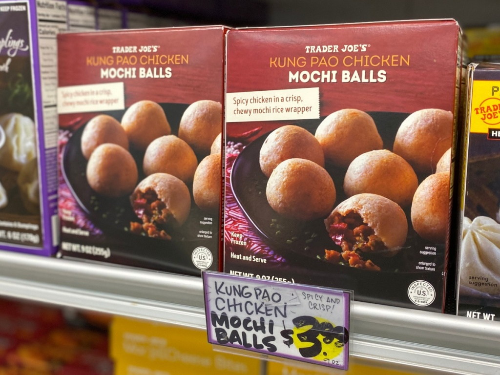 Kung Pao Mochi Balls on shelf at Trader Joe's