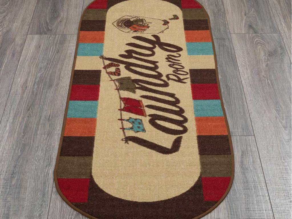 laundry room runner rug in multi colors on wood floor