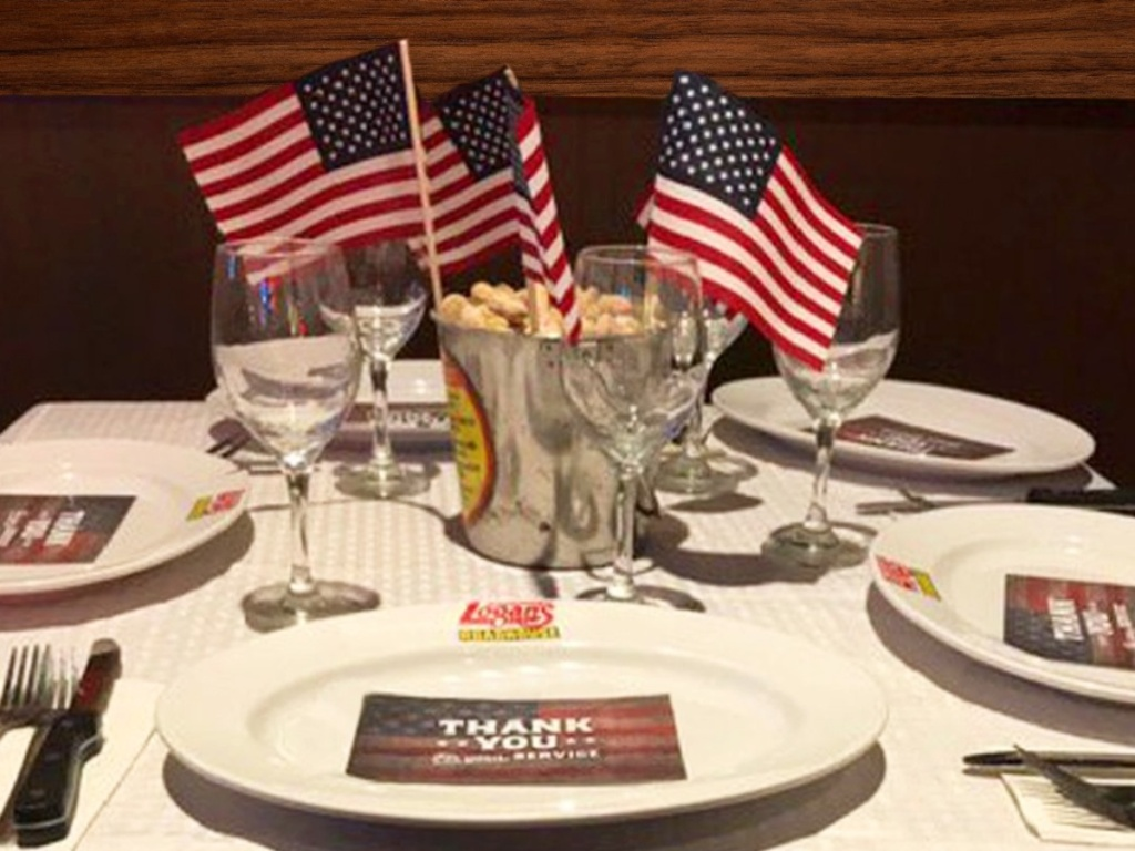 American flags and plates from Logan's Roadhouse