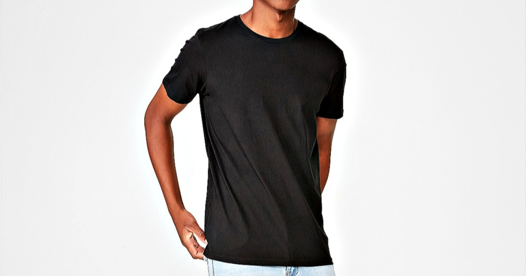 man wearing a black tee shirt