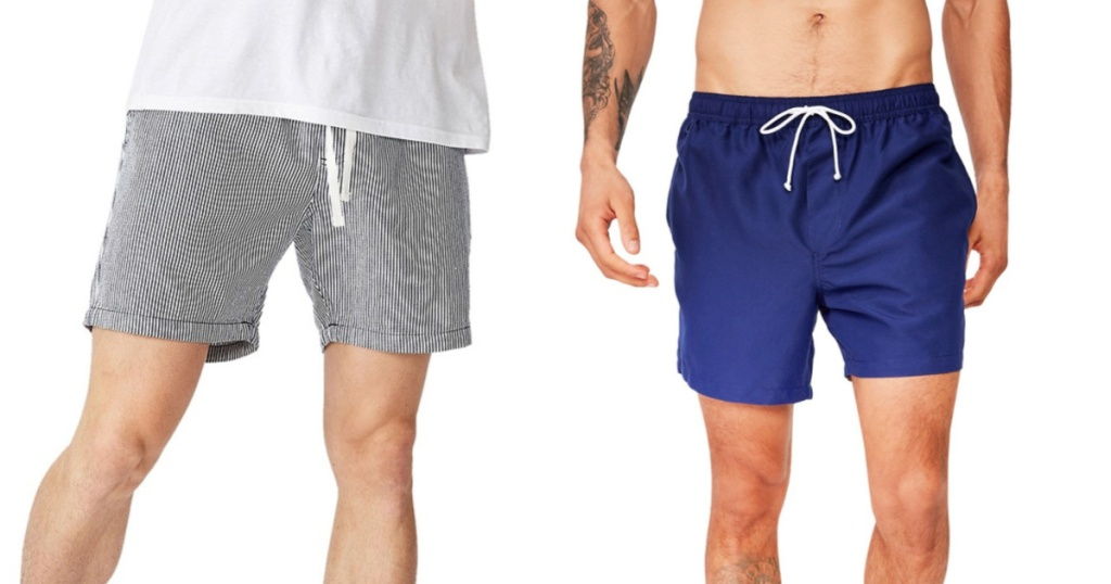 man wearing striped shorts and trunks