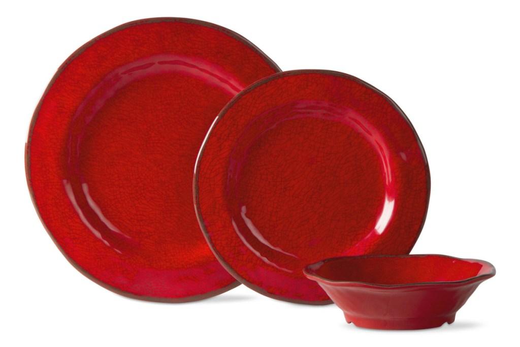 manai dinnerware set red
