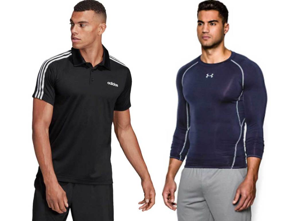adidas and under armour shirts worn by male models
