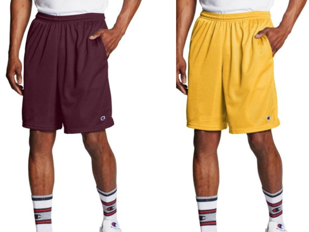 two men wearing yellow and maroon shorts