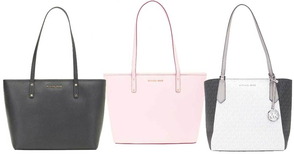 michael kors totes in black pink and multi color