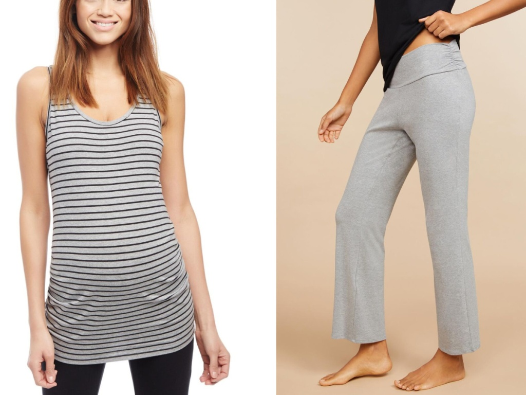 pregnant women wearing striped tank and gray pants