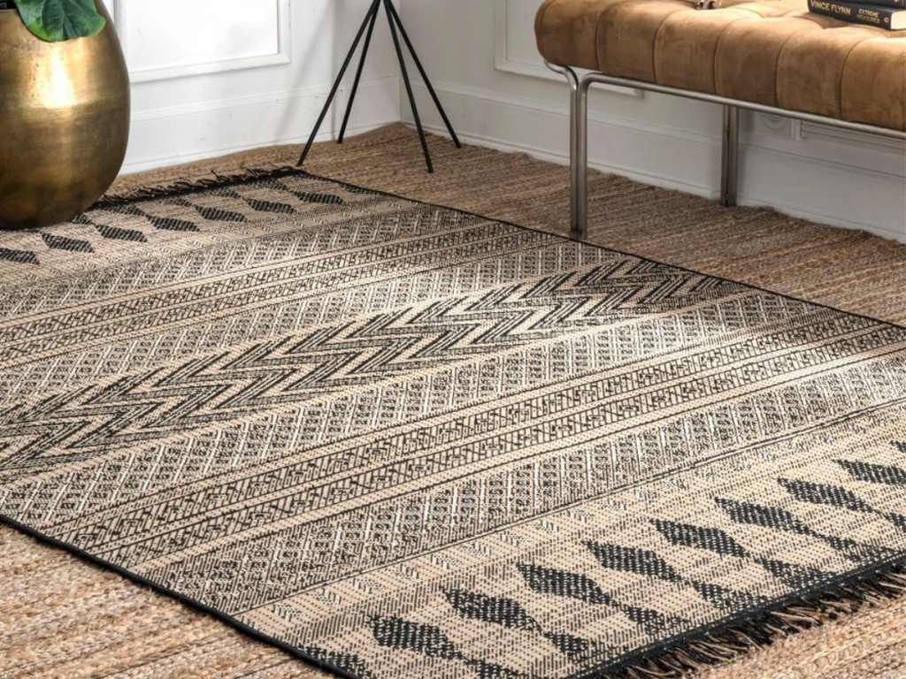tan and blue woven area rug