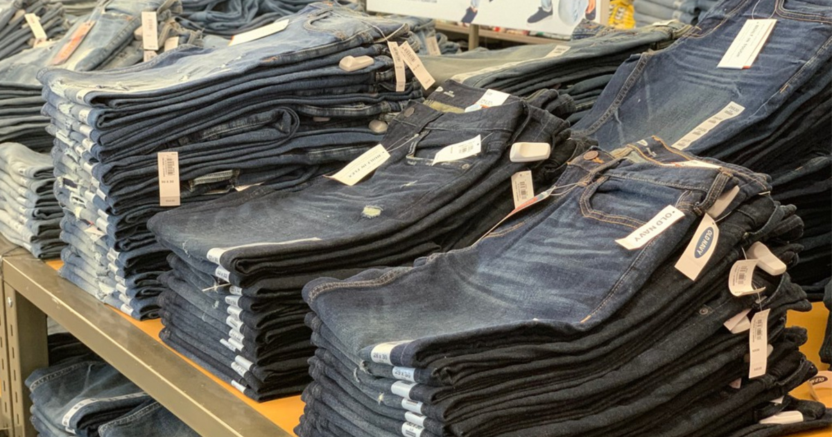 stack of jeans at Old Navy