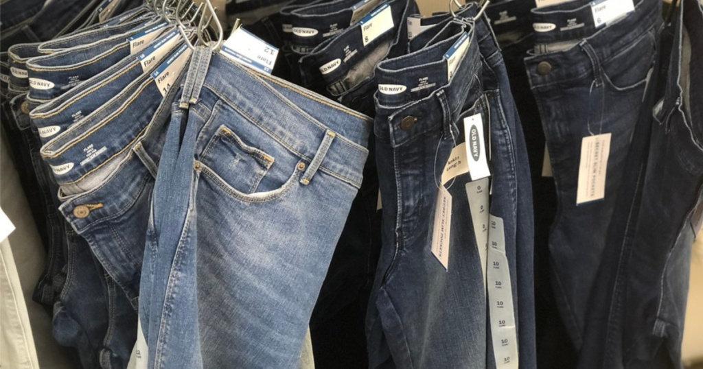 old navy jeans hanging in-store