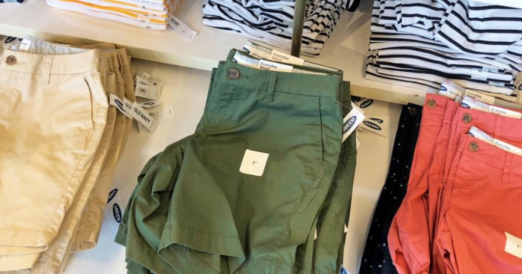 old navy shorts on shelf