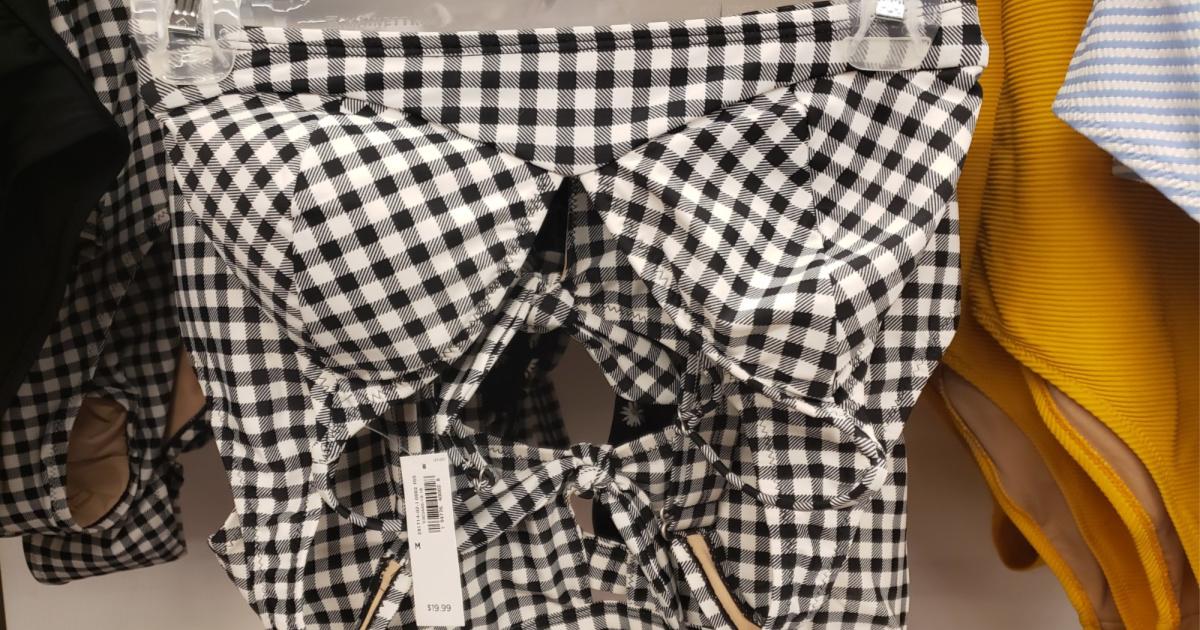 white and black plaid swim top