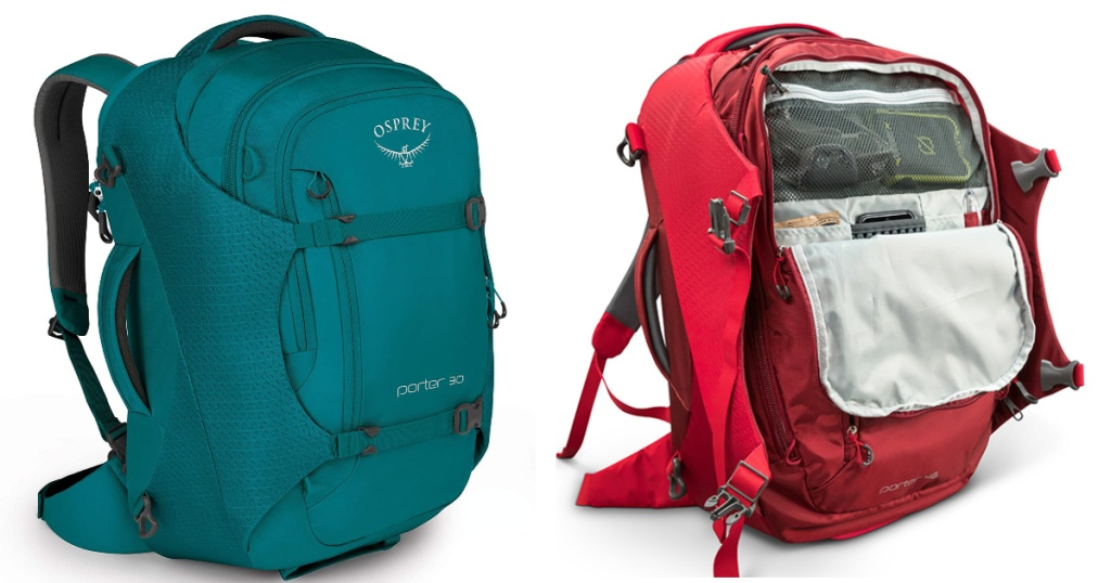 osprey porter 46 teal and red red unzipped