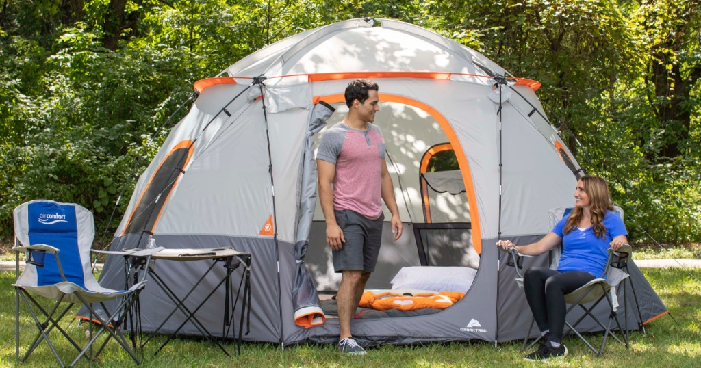 ozark trail dome lighted tent with people camping
