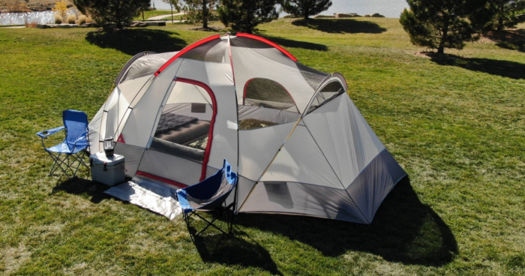 ozark trail tent pitched with mud mat