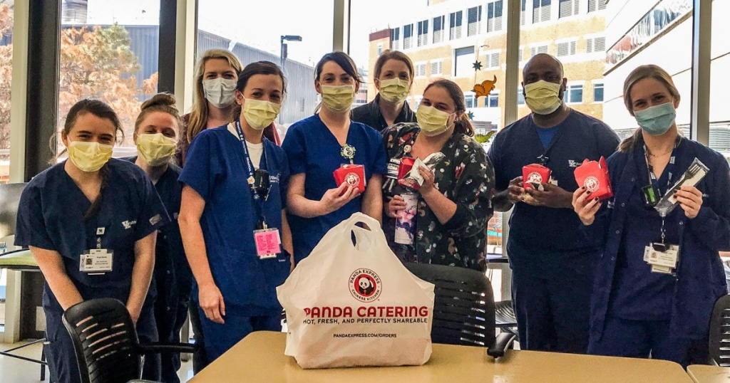healthcare workers with food from Panda Express