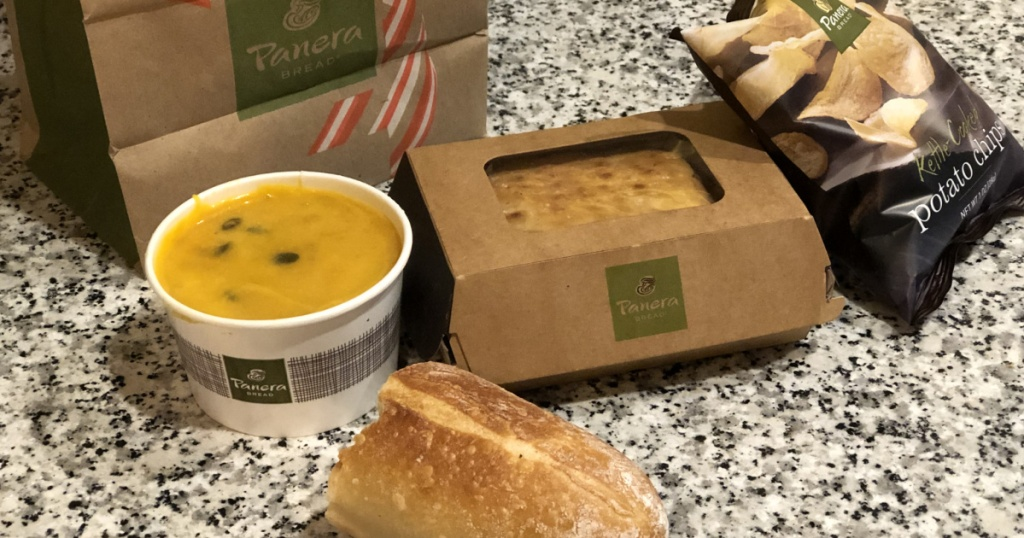panera bread sandwich chips soup and bag
