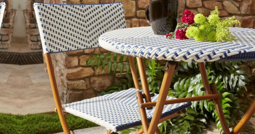 patio table in blue and white