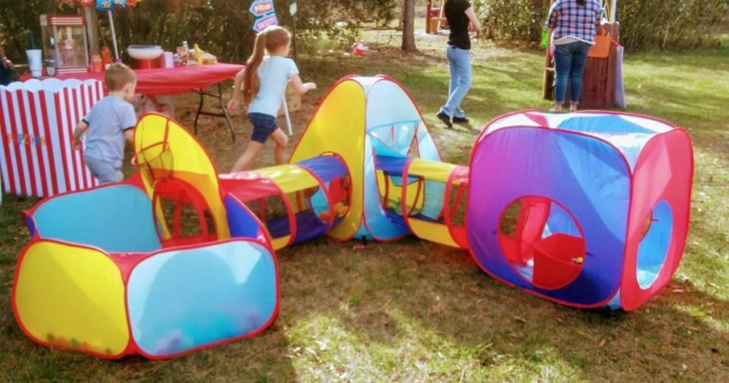 play tent with tunnel and ball pit