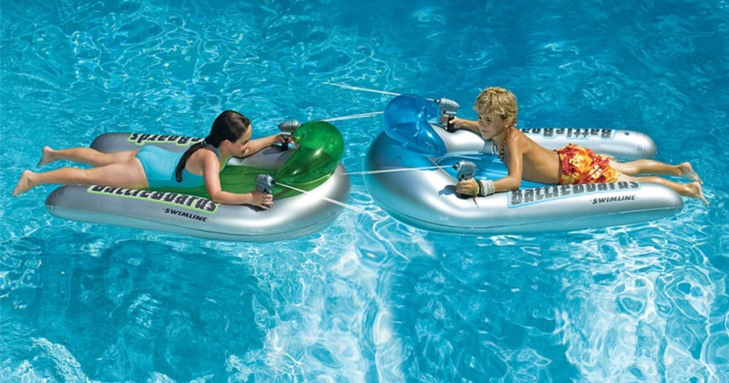 pool float blasters with two kids on them