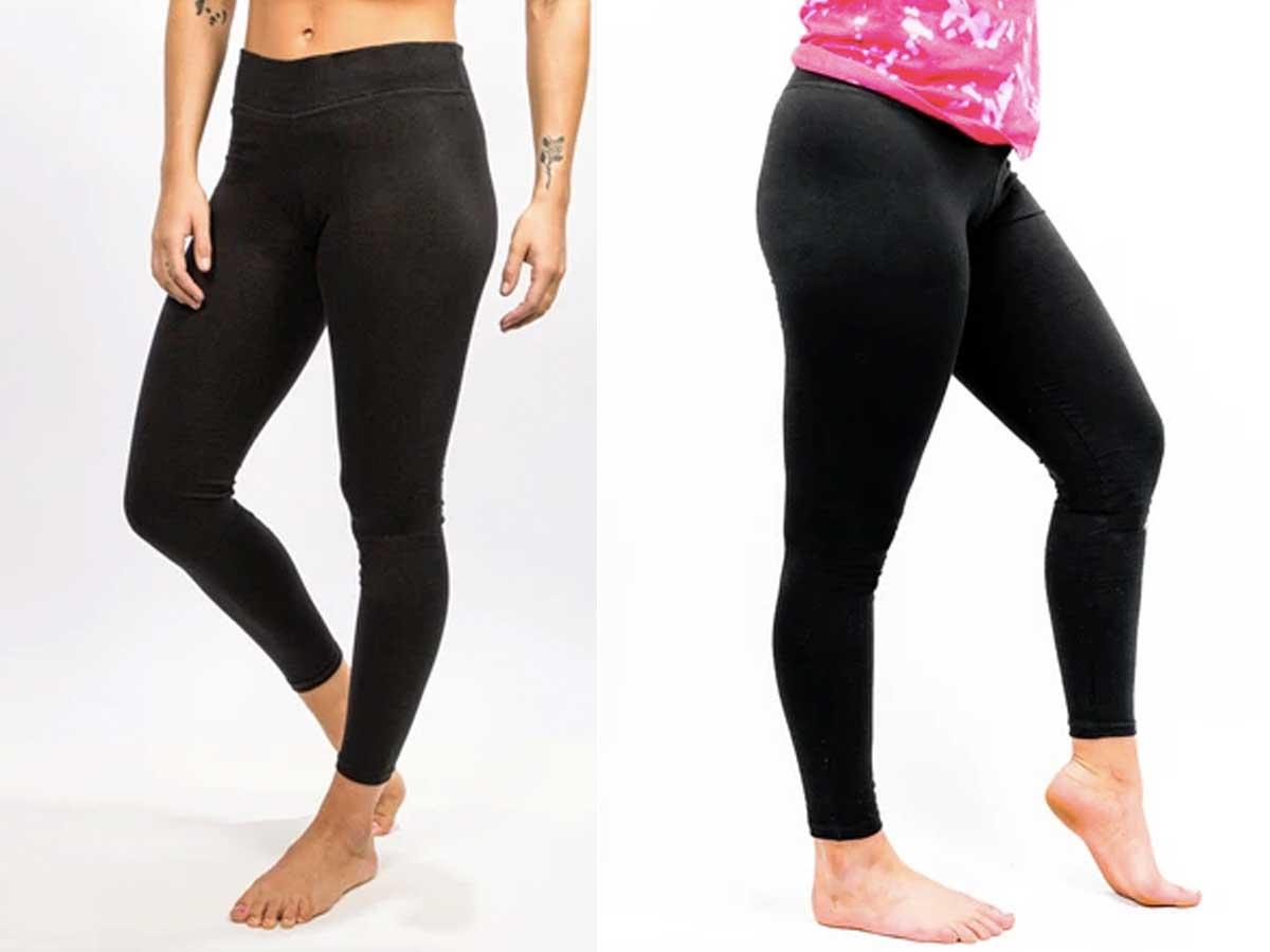 models wearing black leggings