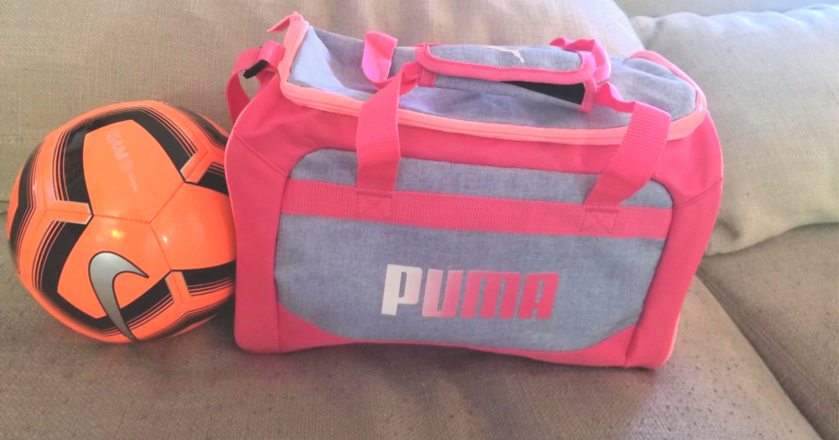 puma duffel bag with soccer ball in front
