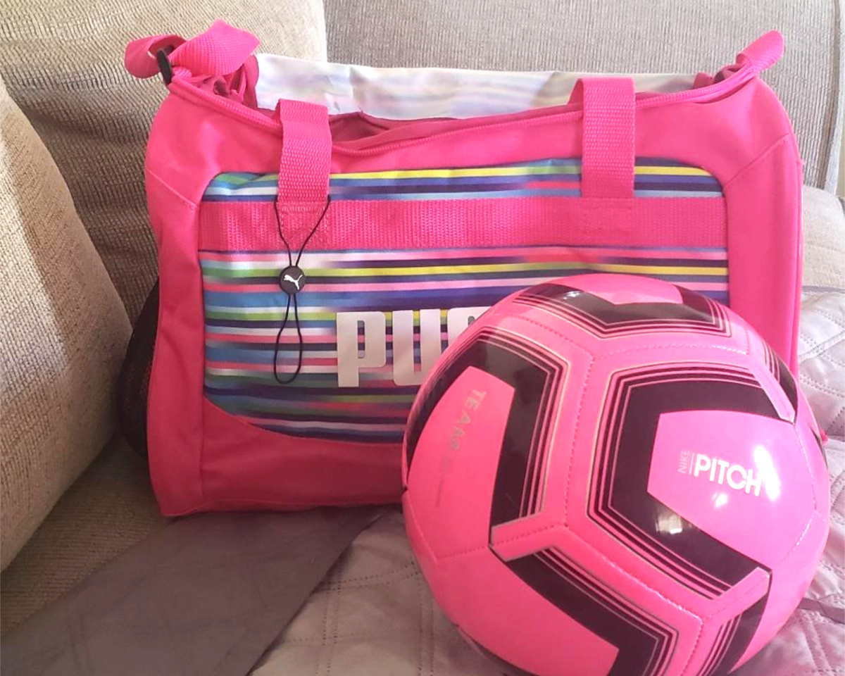 puma duffel pink multi with soccer ball